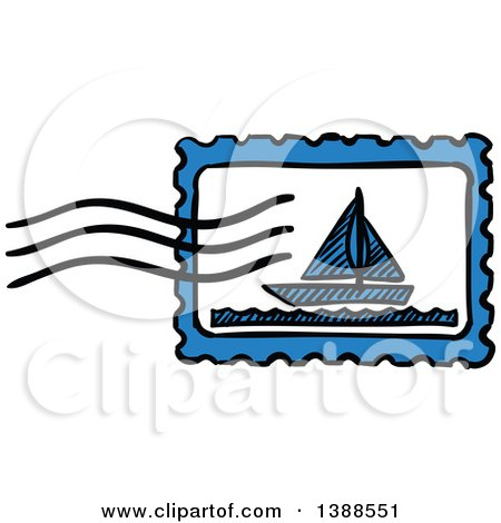 Clipart of a Sketched Sailboat Postmark - Royalty Free Vector Illustration by Vector Tradition SM