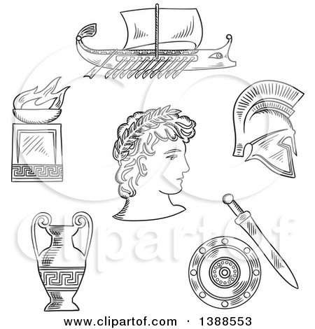 Clipart of a Black and White Sketched Greek Emperor, Amphora, Soldier Helmet, Shield, Sword, Fire Bowl and Warship Galley - Royalty Free Vector Illustration by Vector Tradition SM