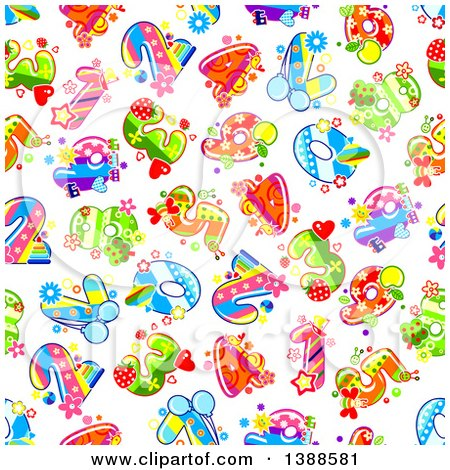 Clipart of a Seamless Background Pattern of Fruity Numbers - Royalty Free Vector Illustration by Vector Tradition SM