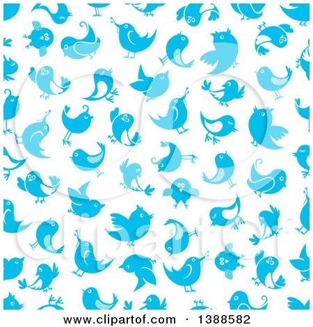 Clipart of a Seamless Background Pattern of Bluebirds - Royalty Free Vector Illustration by Vector Tradition SM