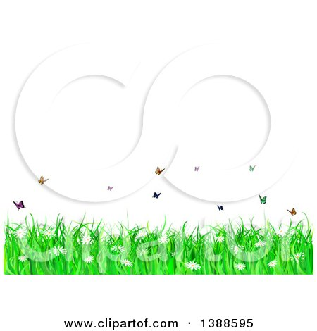 Clipart Of A Background of Spring Flowers, Grass And Butterflies Under Text Space - Royalty Free Vector Illustration by KJ Pargeter