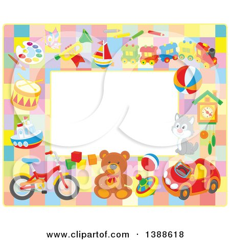 Clipart of a Horizontal Border Frame of Toys - Royalty Free Vector Illustration by Alex Bannykh