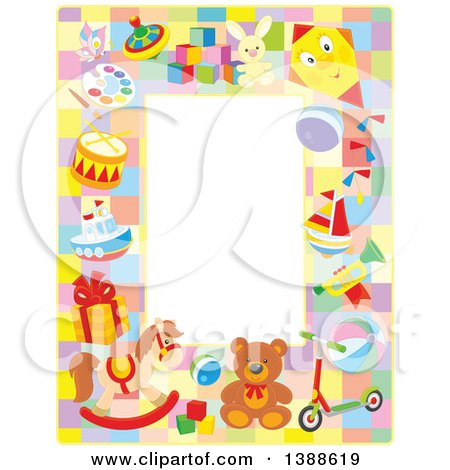 Clipart of a Vertical Border Frame of Toys - Royalty Free Vector Illustration by Alex Bannykh