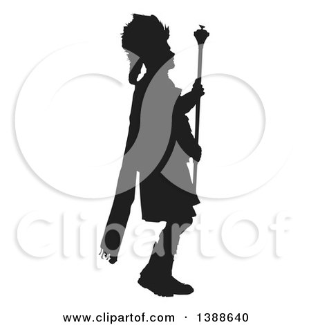 Clipart of a Black Silhouetted Leader of a Scottish Marching Drum and Pipe Band - Royalty Free Vector Illustration by Maria Bell
