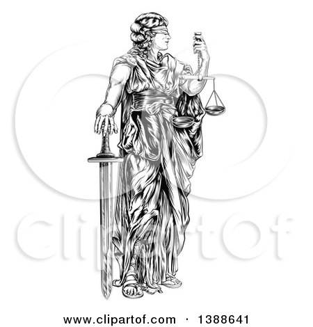 Clipart of a Black and White Engraved or Woodcut Blindfolded Lady Justice Holding Scales and a Sword - Royalty Free Vector Illustration by AtStockIllustration