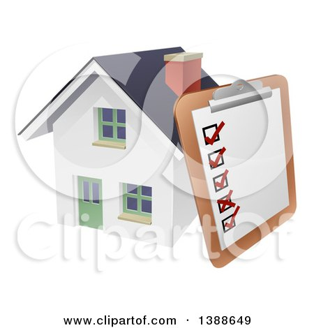 Clipart of a Survey or Check List on a Clip Board Against a 3d White Home - Royalty Free Vector Illustration by AtStockIllustration