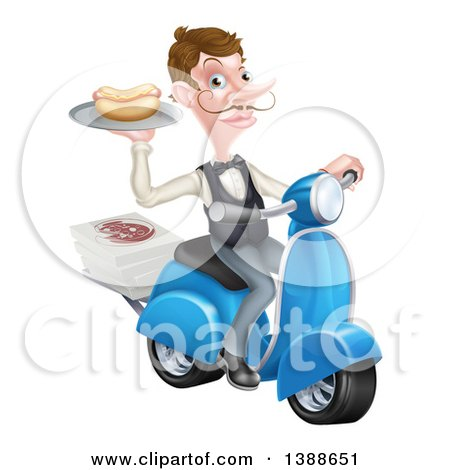 Clipart of a White Male Waiter with a Curling Mustache, Holding a Hot Dog on a Scooter, with Pizza Boxes - Royalty Free Vector Illustration by AtStockIllustration