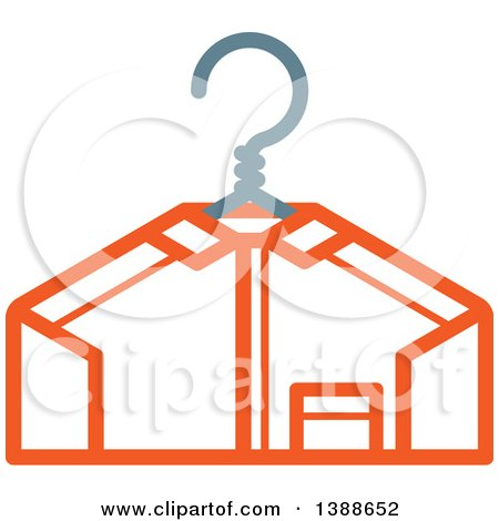 Clipart of a Freshly Laundered Shirt on a Hanger - Royalty Free Vector Illustration by AtStockIllustration