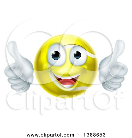 Clipart of a Cartoon Happy Tennis Ball Character Giving Two Thumbs up - Royalty Free Vector Illustration by AtStockIllustration