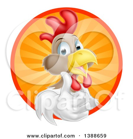 Clipart of a Happy White and Brown Chicken or Rooster Giving a Thumb up and Emerging from a Circle of Sun Rays - Royalty Free Vector Illustration by AtStockIllustration