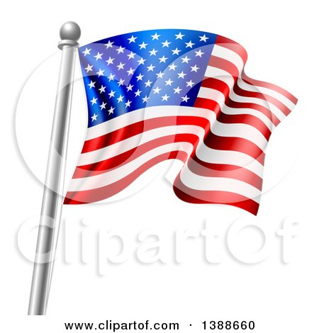 Clipart of a 3d Rippling American Flag on a Silver Pole - Royalty Free Vector Illustration by AtStockIllustration