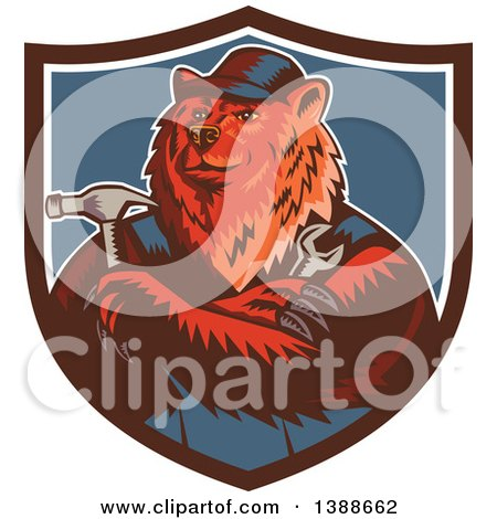 Clipart of a Retro Woodcut Eurasian Brown Bear Handman Holding Tools, with Folded Arms in a Shield - Royalty Free Vector Illustration by patrimonio