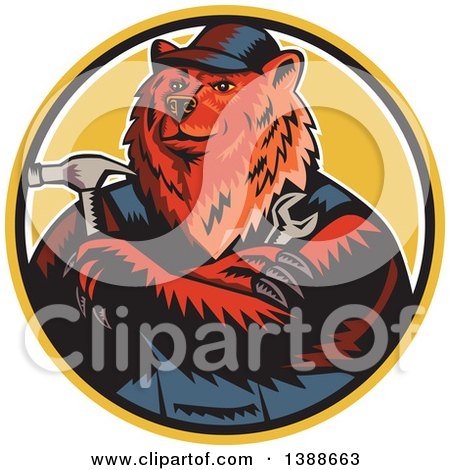 Clipart of a Retro Woodcut Eurasian Brown Bear Handman Holding Tools, with Folded Arms in a Circle - Royalty Free Vector Illustration by patrimonio