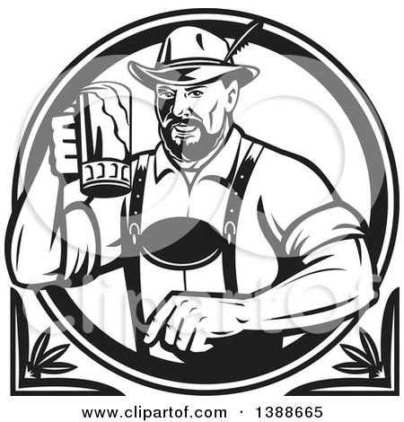 Clipart of a Retro Black and White German Man Wearing Lederhosen and Raising a Beer Mug for a Toast - Royalty Free Vector Illustration by patrimonio