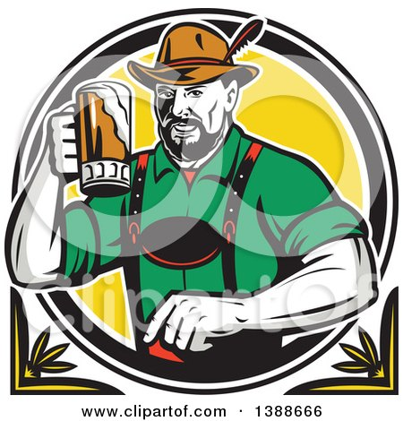 Clipart of a Retro German Man Wearing Lederhosen and Raising a Beer Mug for a Toast - Royalty Free Vector Illustration by patrimonio
