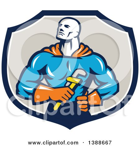 Retro Muscular Super Hero Plumber Holding a Monkey Wrench in a Blue White and Taupe Shield Posters, Art Prints