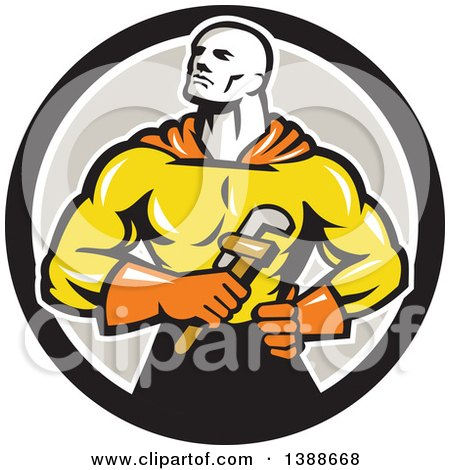 Retro Muscular Super Hero Plumber Holding a Monkey Wrench in a Black White and Gray Circle Posters, Art Prints