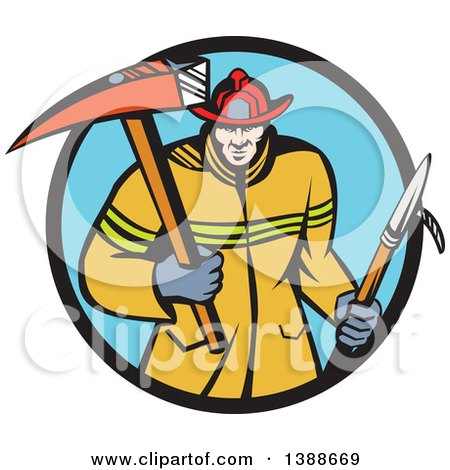 Clipart of a Cartoon White Fireman Carring a Hook and Axe in a Blue and Black Circle - Royalty Free Vector Illustration by patrimonio