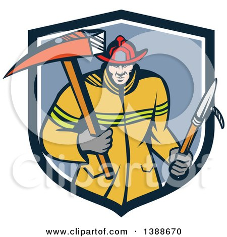 Clipart of a Cartoon White Fireman Carring a Hook and Axe in a Blue and White Shield - Royalty Free Vector Illustration by patrimonio
