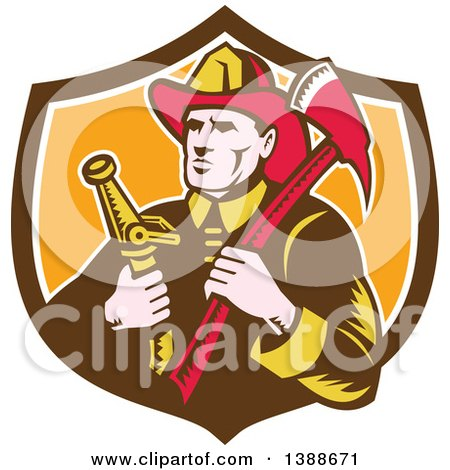 Clipart of a Retro Woodcut Fireman Holding an Axe and Hose in a Shield - Royalty Free Vector Illustration by patrimonio