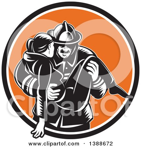 Clipart of a Retro Woodcut Fireman Carrying a Woman in a Black White and Orange Circle - Royalty Free Vector Illustration by patrimonio