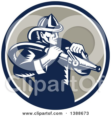 Clipart of a Retro Woodcut Fireman Holding a Hose in a Blue White and Taupe Circle - Royalty Free Vector Illustration by patrimonio