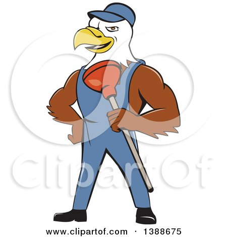 Clipart of a Cartoon Bald Eagle Plumber Man Holding a Plunger - Royalty Free Vector Illustration by patrimonio
