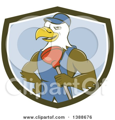 Clipart of a Cartoon Bald Eagle Plumber Man Holding a Plunger in a Green White and Blue Shield - Royalty Free Vector Illustration by patrimonio