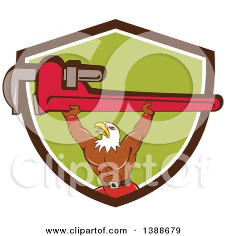 Clipart of a Cartoon Bald Eagle Plumber Man Lifting a Monkey Wrench in a Brown White and Green Shield - Royalty Free Vector Illustration by patrimonio