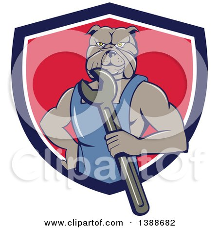 Clipart of a Cartoon Bulldog Man Mechanic Holding a Wrench and Emerging from a Blue White and Red Shield - Royalty Free Vector Illustration by patrimonio