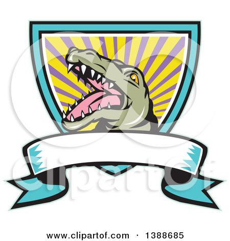Clipart of a Cartoon Snapping Alligator in a Shield with Rays and a Blank Ribbon Banner - Royalty Free Vector Illustration by patrimonio
