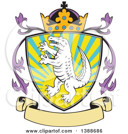 Clipart of a Retro Alligator or Crocodile Coat of Arms Shield with a Crown and Blank Banner - Royalty Free Vector Illustration by patrimonio