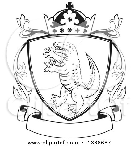 Clipart of a Retro Black and White Alligator or Crocodile Coat of Arms Shield with a Crown and Blank Banner - Royalty Free Vector Illustration by patrimonio