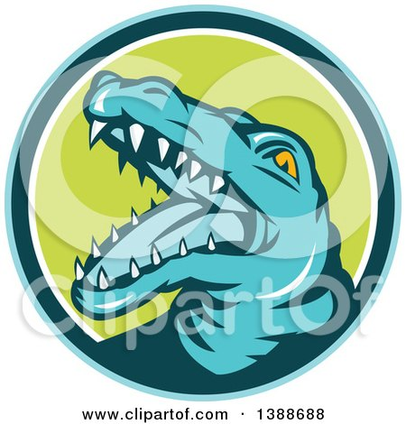 Clipart of a Retro Snapping Alligator or Crocodile in a Blue Teal White and Green Circle - Royalty Free Vector Illustration by patrimonio