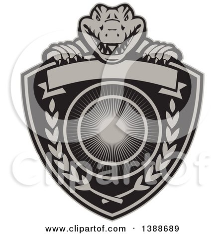 Clipart of a Retro Alligator or Crocodile Coat of Arms Shield with Laurel Branches and a Blank Banner - Royalty Free Vector Illustration by patrimonio