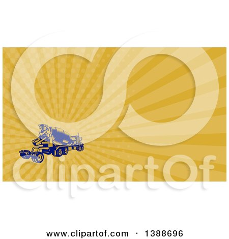 Clipart of a Retro Yellow and Blue Woodcut Cement Truck and Orange Rays Background or Business Card Design - Royalty Free Illustration by patrimonio