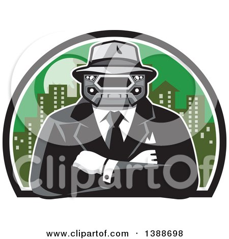 Clipart of a Retro Tough Mobster with a Car Grill Head and Folded Arms Against a City - Royalty Free Vector Illustration by patrimonio