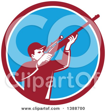 Clipart of a Retro Hunter Aiming a Shotgun in a Maroon White and Blue Circle - Royalty Free Vector Illustration by patrimonio