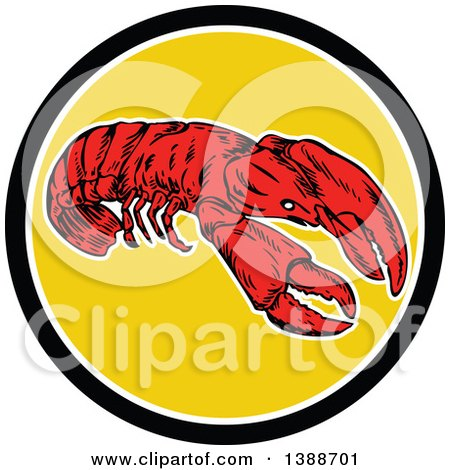 Clipart of a Retro Red Lobster in a Black White and Yellow Circle - Royalty Free Vector Illustration by patrimonio