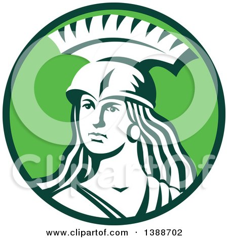 Clipart Of A Retro Female Spartan Warrior In A Green And White Circle Royalty Free Vector Illustration