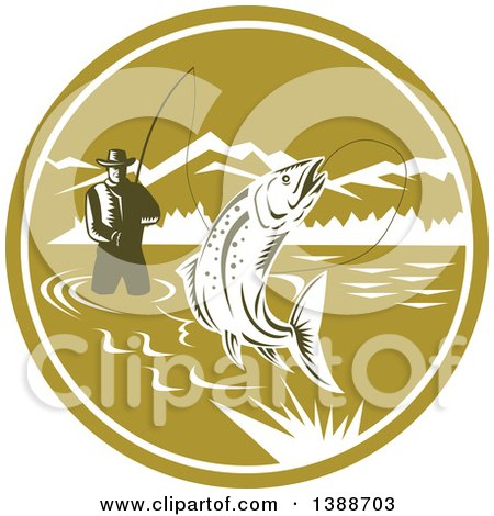 Clipart of a Retro Woodcut Fly Fisherman Reeling in a Trout Fish and Wading in a Lake Inside a Green and White Circle - Royalty Free Vector Illustration by patrimonio