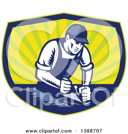 Retro Woodcut Carpenter Wearing a Hat and Overalls, Working with a Smooth Plane on a Wood Surface in a Blue Green and Yellow Shield Posters, Art Prints