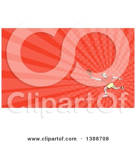 Clipart of a Retro Cartoon White Man Playing Tennis and Red Rays Background or Business Card Design - Royalty Free Illustration by patrimonio