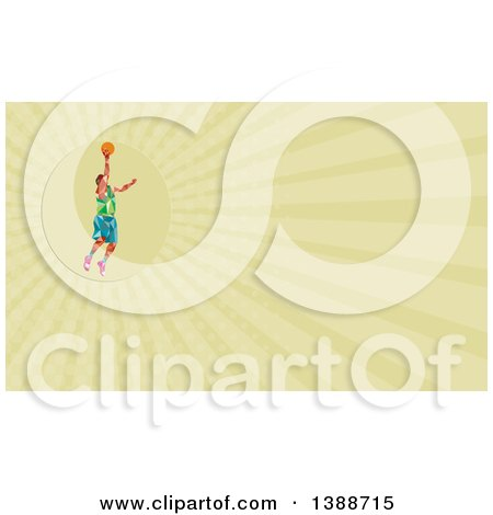 Clipart of a Retro Low Poly White Male Basketball Player Doing a Layup and Green Rays Background or Business Card Design - Royalty Free Illustration by patrimonio