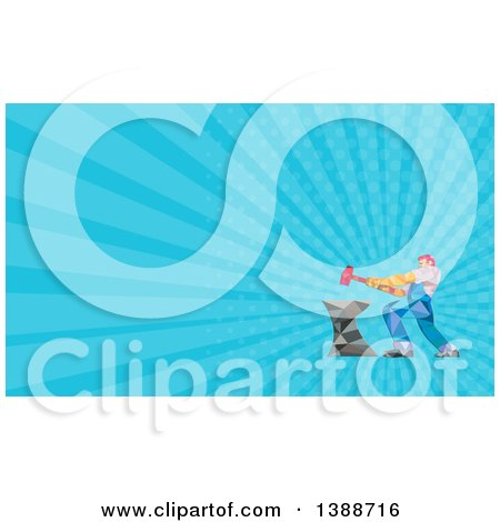 Clipart of a Geometric Low Polygon Styled Blacksmith Worker Man Swinging a Sledgehammer on an Anvil and Blue Rays Background or Business Card Design - Royalty Free Illustration by patrimonio