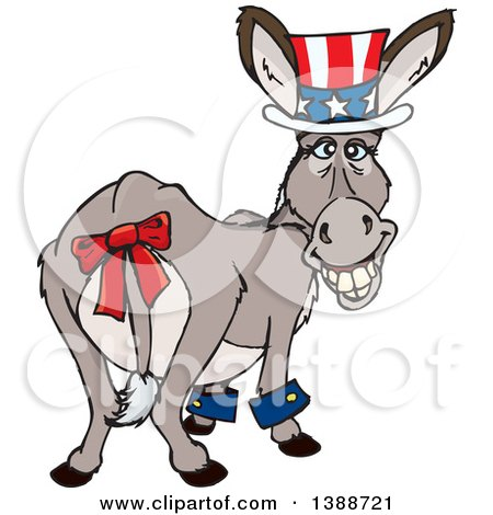 Clipart of a Patriotic Independence Day or Tax Time Donkey Looking Back - Royalty Free Vector Illustration by Dennis Holmes Designs