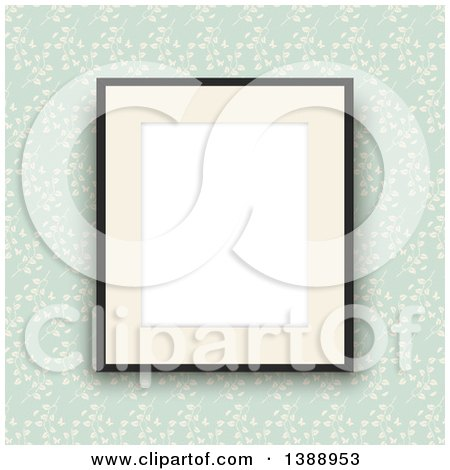 Clipart of a Blank Picture Frame Hanging over Green Floral Vintage Wallpaper - Royalty Free Vector Illustration by KJ Pargeter