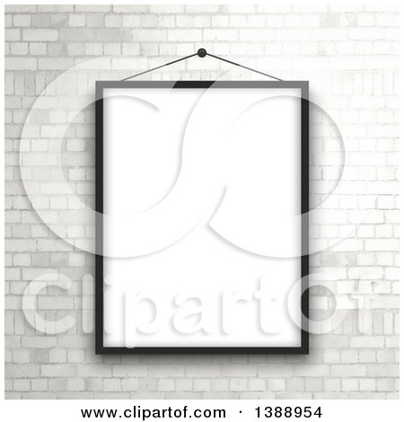 Clipart of a Black Picture Frame Hanging over a White Brick Wall - Royalty Free Vector Illustration by KJ Pargeter