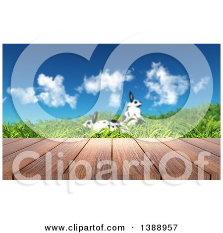 Clipart of a 3d Deck Against a Spring Landscape with Two Rabbits in Grass - Royalty Free Illustration by KJ Pargeter