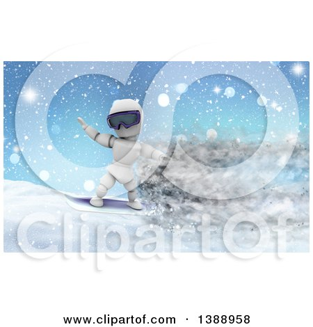 Clipart of a 3d White Character Snowboarding with Speed Effect - Royalty Free Illustration by KJ Pargeter